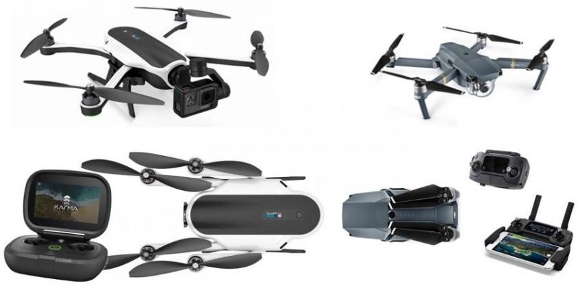 Comparison of the GoPro Karma and DJI Mavic Pro drones (source: GoPro and DJI)