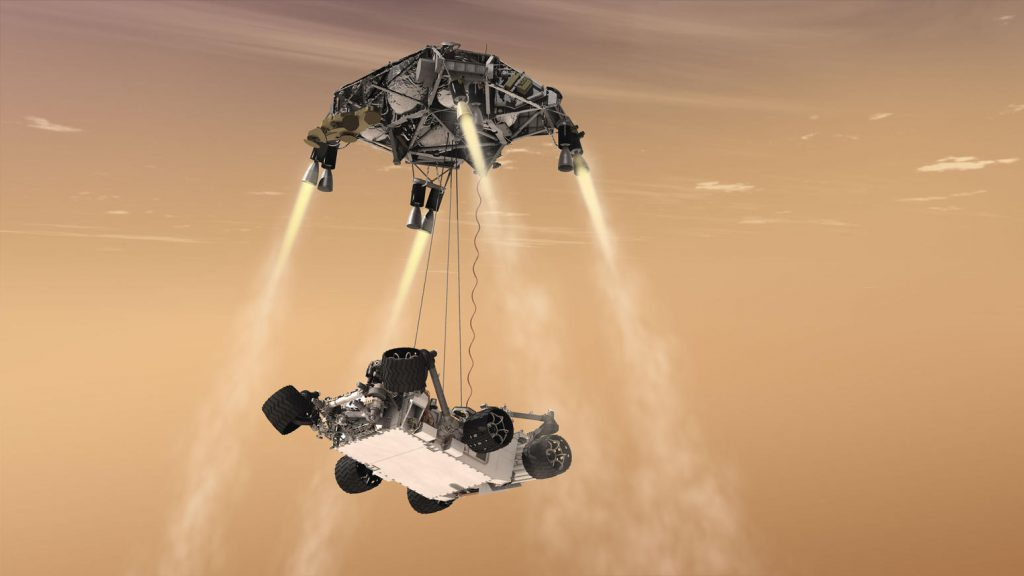 NASA's Mars 2020 rover will use a landing system nearly identical to the 2012 landing of Curiosity (depicted in this artist's concept) but with added precision from the Lander Vision System. (Credit: NASA/JPL-CalTech)