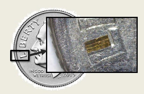 Figure 4: Microlaser Diode on a Dime (Source: S. Redington).