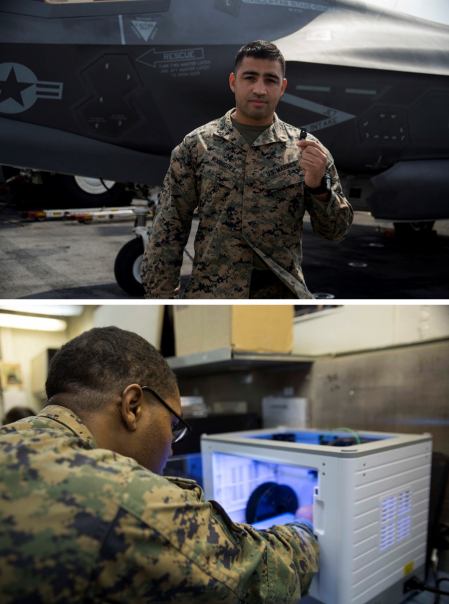 Figure 6: (Top) CWO2 Rodriguez Holding the Bumper and (Bottom) Sgt. Willis Demonstrating the 3D Printer (Source: U.S. Marine Corps Photos by Cpl. Stormy Mendez).