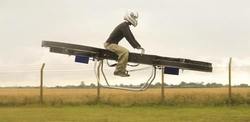 Figure 7: Early Flight Control Testing of Full-scale Hoverbike Concept.
