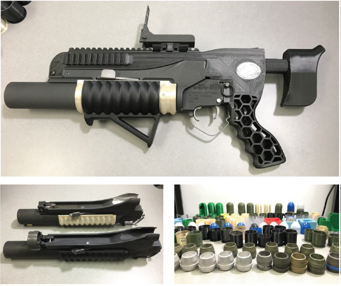 Figure 8: Examples of Printed Rifle (Top), Grenade Launcher (Bottom Left), and Printed Rounds (Bottom Right) (Source: Szondy and Lopez [16, 17]).