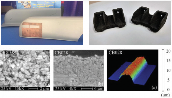 "Figure 9: Examples of USAF AM Technologies for Functional and Extreme Environments: Direct-Write Plasma Technology to ""Print"" a Cu Antenna on an MQ-9 Reaper (Top Left), Printed High-Temperature Carbon Fiber Composite (Top Right), and Images of Silver Ink Used to Print Resilient Hybrid Electronics Onto PEEK (Bottom) (Sources: Pawlyk, Neff et al., and AFRL [18-20])."