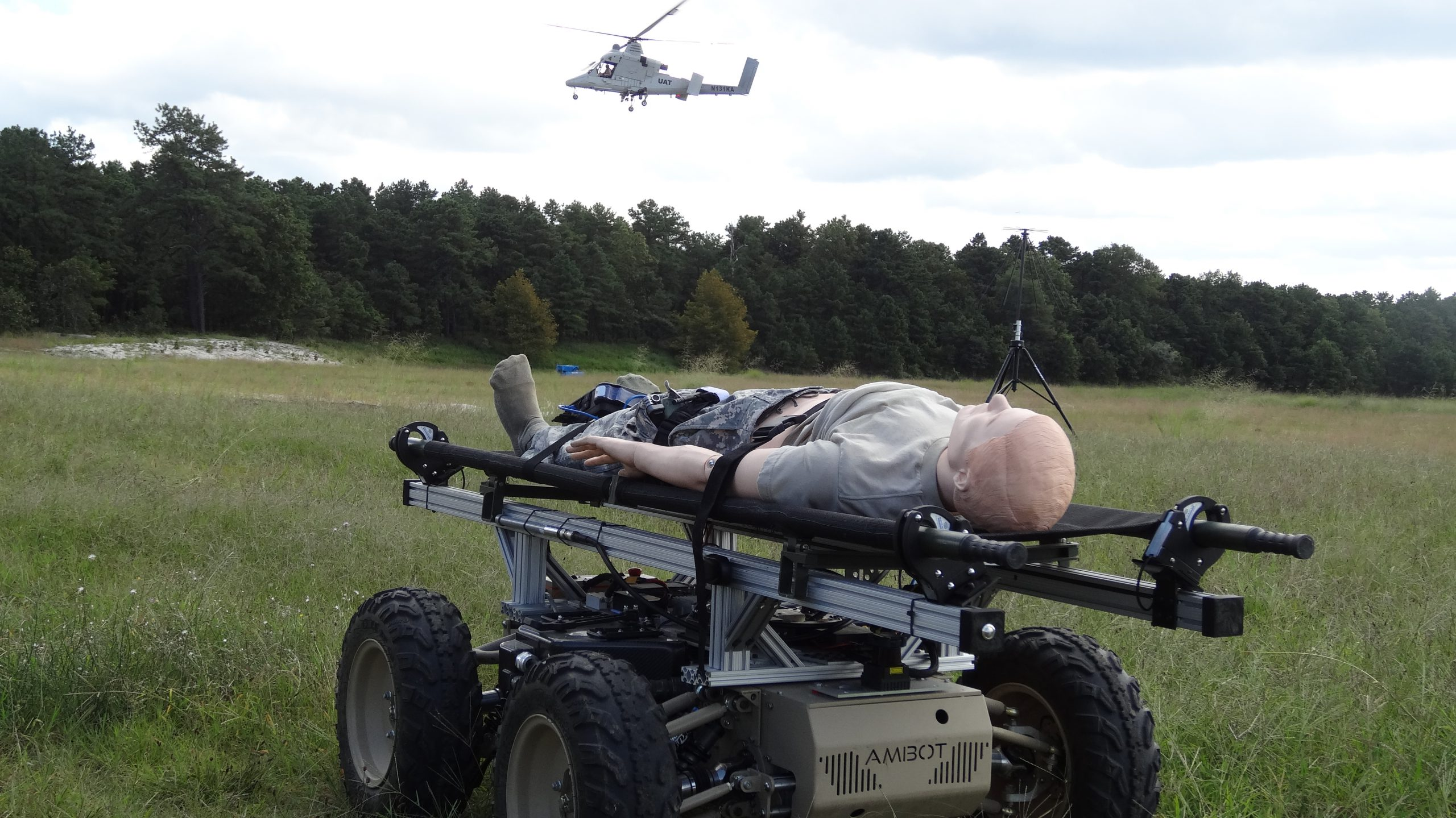 The Navy, Army and Air Force conduct a casualty evacuation (CASEVAC) response event at Fort Dix, N.J. in August 2016. The Navy tested its common control system during the event to show the potential use of unmanned systems for automated CASEVACs. (U.S. Army photo)