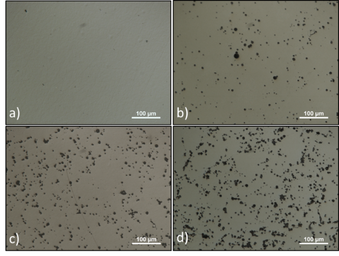 Figure 3: Representative Optical Microscope Images of Sample Surfaces With a)