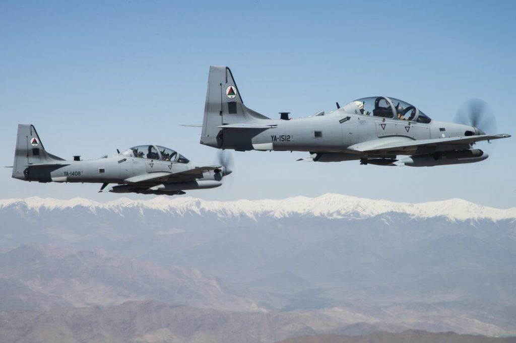 A-29 Super Tucanos fly over Kabul, Afghanistan, April 28, 2016 (U.S. Air Force photo by Staff Sgt. Larry Reid, Jr.).